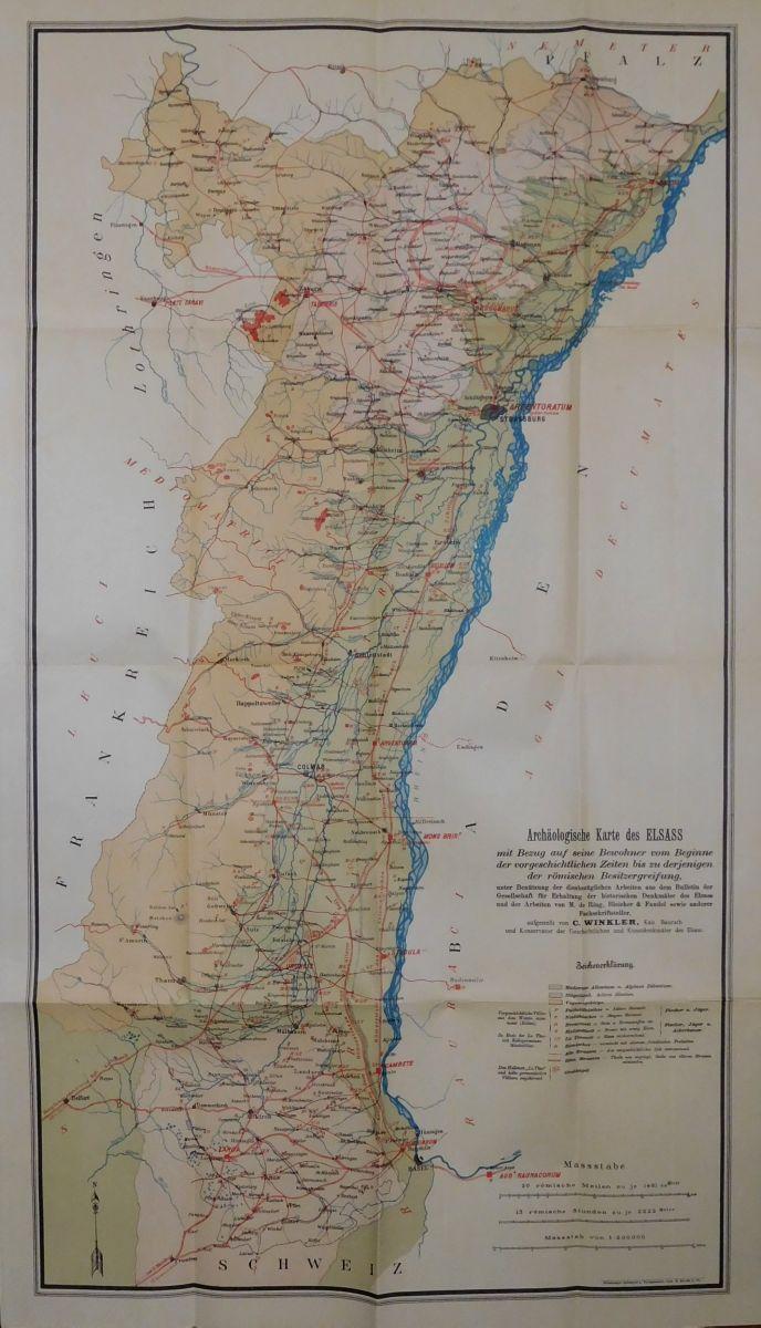 Elsass Auf Karte.Carte Archeologique De L Alsace Von Archaologische Karte Des Elsass