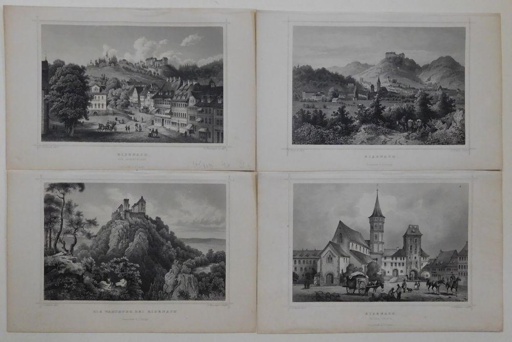 4 Ansichten in Stahlstich: Gesamtansicht, Der Marktplatz.: Eisenach