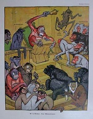 Das Affenparlament. Verschiedene Affen- und Menschnaffenarten in einem Parlamentsraum, ein ...
