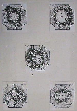 5 kleine Festungspläne.: Marsal. Toul. Metz. Verdun. Phalsbourg.