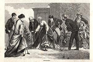 Teniers um 1850 Puff-Spiel Originaler Stahlstich von French n Backgammon