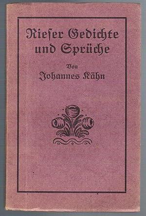 Rieser Gedichte und Sprüche. Gedichte und Sprüche: Kähn, Johannes