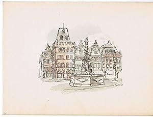 Trier. Bild der Heimat. Handaquarellierte Zeichnungen.: Krisam, Peter