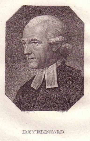 Brustbild im Achteck. Bezeichnung unterhalb der Darstellung: Reinhard, Franz Volkmar.