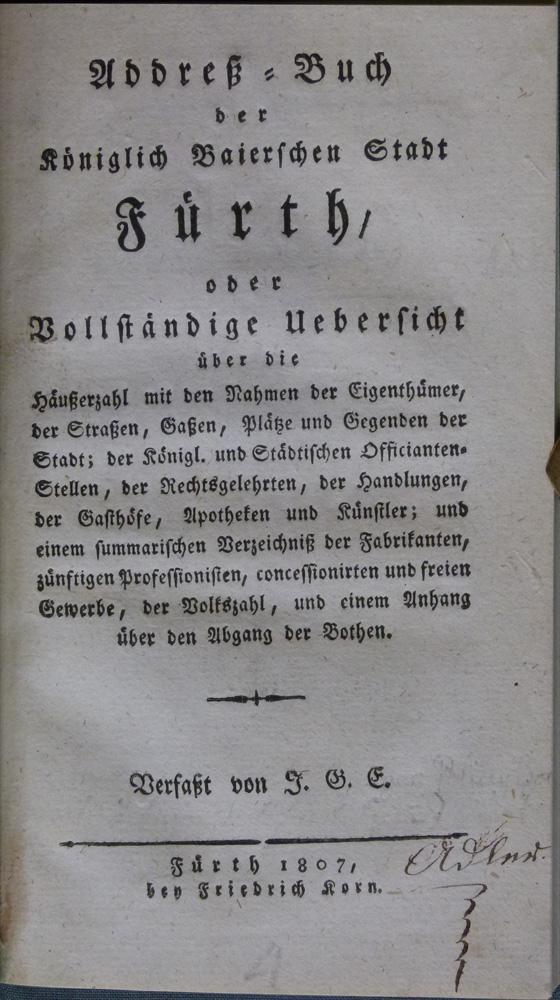 Addreß-Buch der Königlich Baierischen Stadt Fürth, oder Vollständige ...