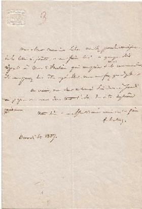 Eigenhändiger Brief mit Unterschrift. In französischer Sprache. Eine Seite.: Halévy, ...