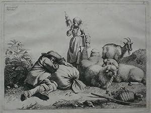 Der Hirte auf dem Boden schlafend, eine Spinnerin, nach rechts drei liegende Schafe und eine Ziege....