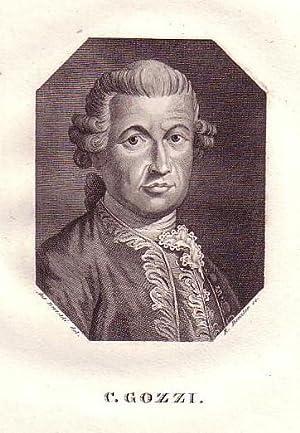 Brustbild im Achteck. Bezeichnung unterhalb der Darstellung: C. GOZZI.: Gozzi, Carlo.