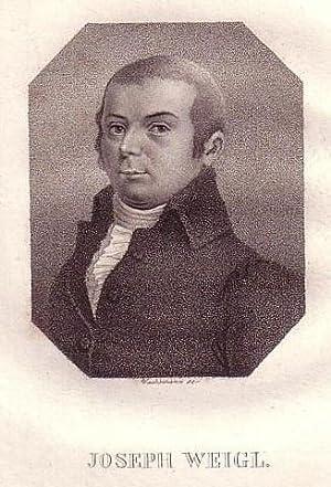 Brustbild im Achteck. Bezeichnung unterhalb der Darstellung: Weigl, Joseph.