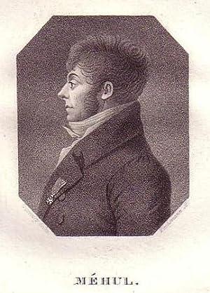 Brustbild im Profil im Achteck. Bezeichnung unterhalb der Darstellung: MEHUL.: Méhul, Etienne ...