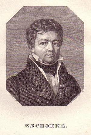 Brustbild im Achteck. Bezeichnung unterhalb der Darstellung: ZSCHOKKE.: Zschokke, Heinrich.