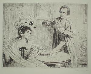 Goethe und Frau von Stein. Rechts unterhalb der Darstellung von Karl Bauer signiert.: Goethe, ...