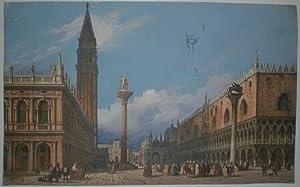 Der Markusplatz in Venedig. Ansicht vom Ufer über den Platz, im Hindergrund der Markusdom.