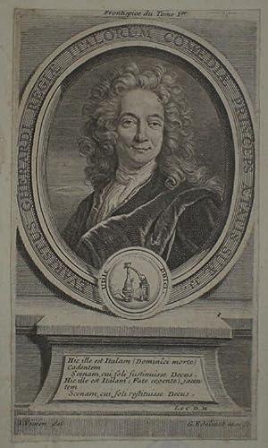 Brustbild en face im Oval mit Rahmenwerk. Bezeichnung um die Darstellung: EVARISTUS GHERARDI REGIAE...