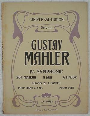 Vierte Symphonie in G Dur von Gustav Mahler. Klavierauszug zu vier Händen arrangiert von J. V....