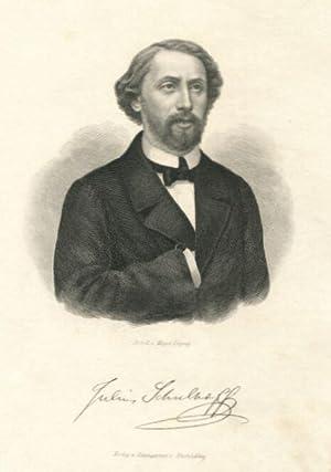 Brustbild en face. Mit faksimilierter Unterschrift unterhalb der Darstellung.: Schulhoff, Julius.