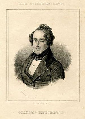 Brustbild en face im Rahmen. Unterhalb der Darstellung: Giacomo Meyerbeer.: Meyerbeer, Giacomo.