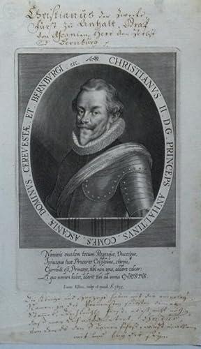 Brustbild im Oval.: Christian I., Fürst von Anhalt-Bernburg.