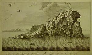 Latus Insulae Bassae Orientale. The East syde of the Bass. Ansicht der Felsen, im Vordergrund zwei ...