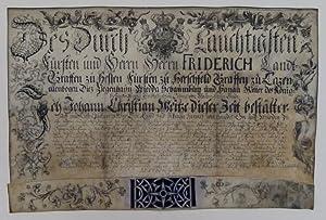 Urkunde auf Pergament. Mit breiter kalligraphischer und floraler Bordüre und ...