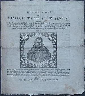 Ehrendenkmal auf Albrecht Dürer in Nürnberg; welcher in der sogenannten Zisselgasse, ...