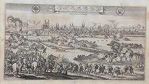 """Magdeburgum"""". Ansicht von einer Anhöhe auf die Stadt, im Vordergrund kaiserliche Truppen ..."""
