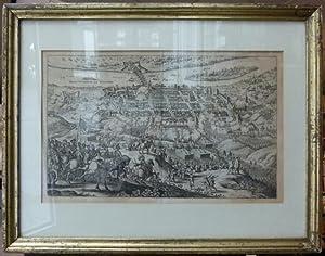 """Francofurtum ad viadrum"""". Gesamtansicht von einer Anhöhe, im Vordergrund Belagerung durch..."""