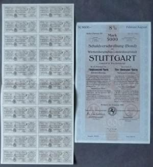 Schuldverschreibung (Bond) der Württembergischen Landeshauptstadt Stuttgart für ein ...