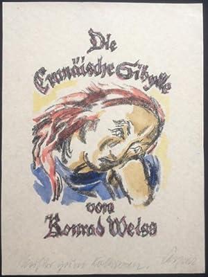 """Titelblatt zu """"Die cumäische Sibylle"""" von Konrad Weiss. Handkolorierte ..."""