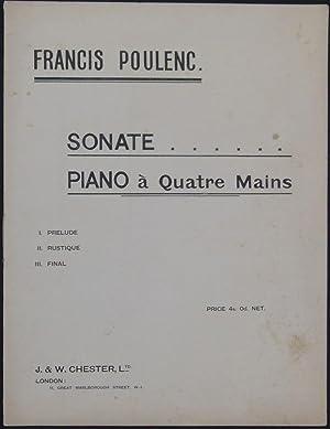 Sonate. Piano à Quatre Mains. I. Prelude. II. Rustique. III. Final.: Poulenc, Francis.