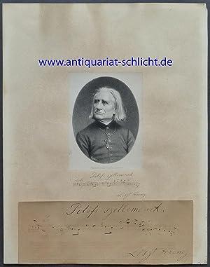 """Eigenhändiges Notenzitat mit Unterschrift """"Liszt Ferencz"""". Ohne Ort und Jahr (nach ..."""
