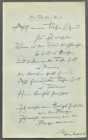 Eigenhändiges ganzseitiges Albumblatt mit Unterschrift. Ohne Ort und Jahr (ca. 1920).: Mombert...