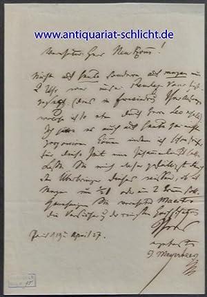 Eigenhändiger Brief mit Unterschrift. In deutscher Sprache. Eine Seite.: Meyerbeer, Giacomo.