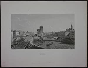 Verona. Ansicht von Verona mit Ponte delle Navi und der Etsch, im Hintergrund die Stadt.