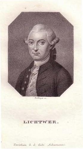 Brustbild im Achteck. Bezeichnung unterhalb der Darstellung: LICHTWER.: Lichtwer, Magnus Gottfried.