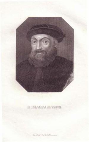 Brustbild im Achteck. Bezeichnung unterhalb der Darstellung: H. MAGALHAENS.: Magalhaes, Fernao de.