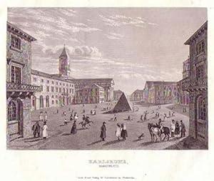 Karlsruhe. Marktplatz mit Pyramide und evangelischer Kirche. Bezeichnung unterhalb der Darstellung:...