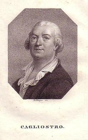 Brustbild im Profil im Achteck. Bezeichnung unterhalb der Darstellung: CAGLIOSTRO.: Cagliostro, ...
