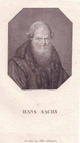 Brustbild en face im Achteck. Bezeichnung unterhalb der Darstellung: HANS SACHS.: Sachs, Hans.