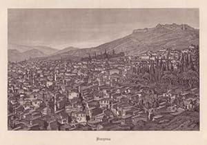Izmir (Smyrna). Gesamtansicht von einer Anhöhe. Bezeichnung unterhalb der Darstellung: Smyrna.