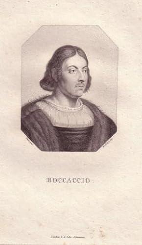Brustbild nach halbrechts im Achteck. Bezeichnung unterhalb der Darstellung: BOCCACCIO.: Boccaccio,...