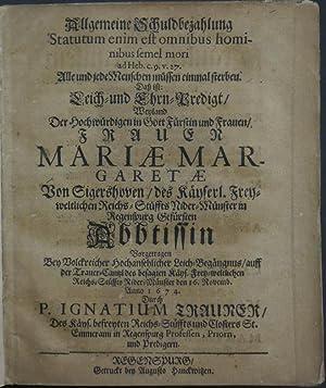 """Allgemeine Schuldbezahlung """"Statutum enim est omnibus hominibus semel mori ad Heb. c. 9. v. 27..."""