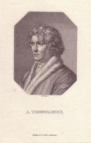 Brustbild nach halblinks im Achteck. Bezeichnung unterhalb der Darstellung: A. THORWALDSEN.: ...