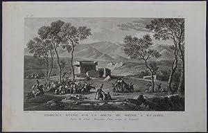 Tombeaux situés sur la route de Hhems à Ba'albek. Aspect du Liban. Rencontre d&#...