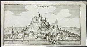 Thonavstauff. Ansicht über die Donau auf die Stadt mit der Burg.