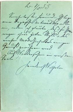 Mit der Unterschrift und Datierung dieses Briefes unten i Matschmachen-Beschwerden der Elite