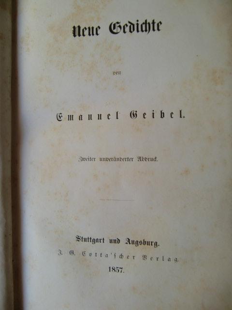 Neue Gedichte Von Emanuel Geibel