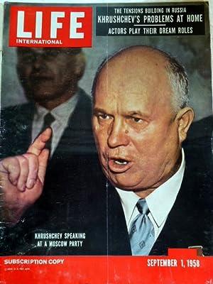 Life International September 1 , 1958 Khrushchev: Life International Magazine:
