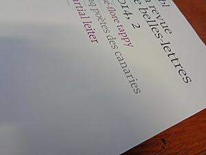 Revue Belles lettres No 2-2014, J-F Tappy: Éditeur Revue Belles