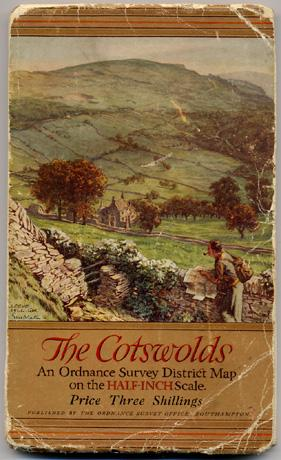 THE COTSWOLDS, An Ordnance Survey District Map on the HALF INCH Scale, Price Three Shillings.
